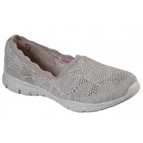 Skechers Ladies Taupe Seager Bases Covered Slip On Shoes