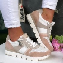 Marco Tozzi Ladies White Pink Combination Trainers