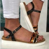Escape Ladies Burnside Black and Orange Chain Detail Sandals
