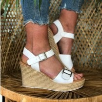 Oh! My Sandals Ladies White Wedge Sandals