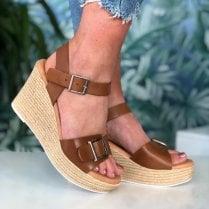Oh! My Sandals Ladies Tan Wedge Sandals