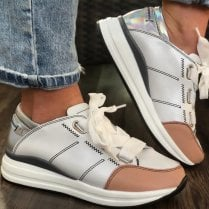 Una Healy Hello Walls Holographic Pink and White Wedge Trainers