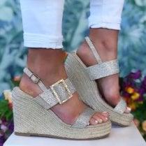 Menbur 22290 Gold Diamonte Wedged Sandal