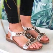 Lunar Ladies Imani Silver Beaded Sandal