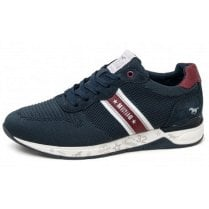Mustang Mens Navy Mesh Lace Up Trainers
