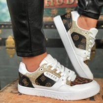 Guess Ladies Julien White and Brown Logo Trainer