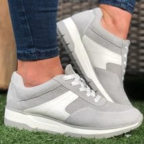 Tamaris Ladies Light Grey Lace-Up Trainers