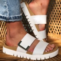 Gabor Ladies White Leather Sandals