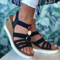 Susst Ladies Navy Glitter Embellished Wedge Sandals