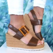 Gabor Ladies Brown Velcro Strap Wedge Sandals