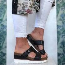 Clarks Ladies Lizby Ease Black Wedge Sandals