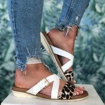Lunar Josie White Leopard Print Mule Sandals