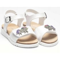 Lelli Kelly Girls Unicorn Metallic White Sandals