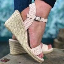 Tamaris Ladies Chilli Red Striped Wedged Heel Sandal
