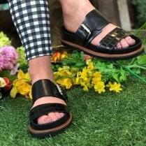 Clarks Ladies Orianna Sun Black Buckle Sandals