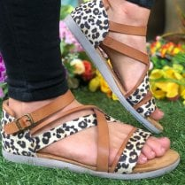 Mustang Ladies Brown and Leopard Print Crossover Sandal