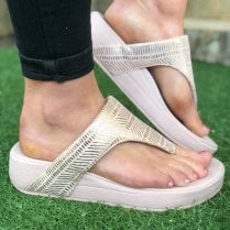 Skechers Ladies Natural Beige Retrographs Jupiter Wedged Sandal