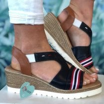 Susst Ladies Navy with Red and White Stripes Sandal