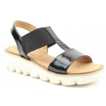 Heavenly Feet Ladies Ritz Black Patent Chunky Sandals