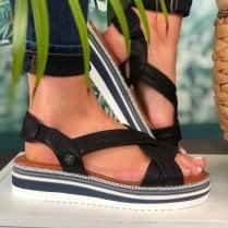 Mustang Ladies Black Crossover Sandals