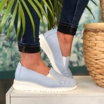 Drilleys Ladies Light Blue Wedge Shoe