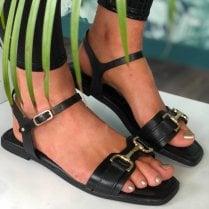 Tamaris Ladies Black Gold Chain Detail Sandal