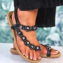 Lunar Womens Charlotte Black Flower Toe-Loop Sandals