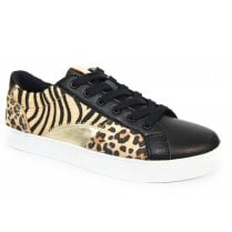 Lunar Ladies Charlize Black and Leopard Trainers