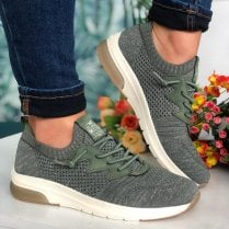 Mustang Ladies Olive Green Sparkle Trainers