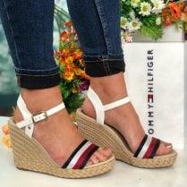 Tommy Hilfiger Ladies Ecru Wedged Sandals