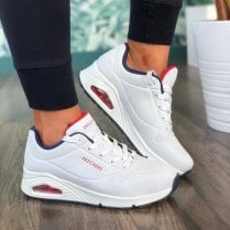 Skechers Ladies Stand On Air White and Navy Wedge Trainers