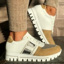 Rieker Ladies White and Brown Cleated Sole Trainers