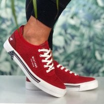 Mustang Ladies Red Mesh Canvas Trainers