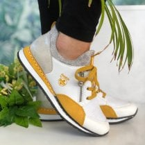 Rieker White Mustard and Snake Print Trainers