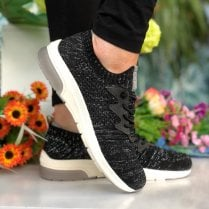 Mustang Ladies Black Silver Sparkle Trainers
