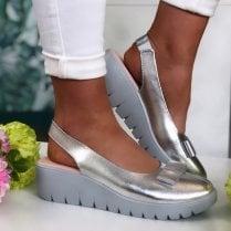 Kate Appleby Ladies Chiltern Silver Slingback Wedge Sandals