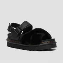 Dr Martens Ladies Voss Black Faux Fur Leather Sandals