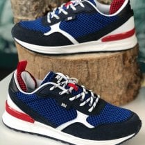 XTI Mens Navy & Red Mesh Trainers