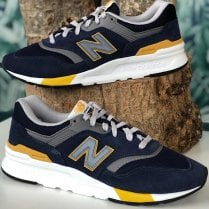 New Balance Mens 997 Lifestyle Sneakers - Navy and Gold