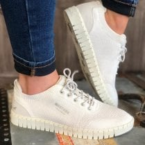 Mustang Ladies White Knit Chunky Sole Trainer