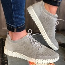 Mustang Ladies Grey Knit Chunky Sole Trainer
