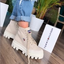 Tommy Hilfiger Jeans Ladies Stone Flat Boot