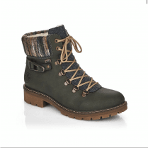 Rieker Ladies Green Patterned Zip Up Ankle Boots