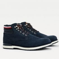 Tommy Hilfiger Mens Navy Suede Outdoor Lace Up Boots