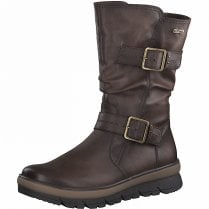Jana Ladies Mocca Brown Buckle Lined Wedge Boot