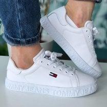 Tommy Hilfiger Ladies White Leather Flatform Trainers