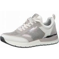 Tamaris Ladies Grey and White Metallic Trainers