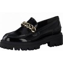 Tamaris Ladies Chunky Black Patent Chain Detail Loafers