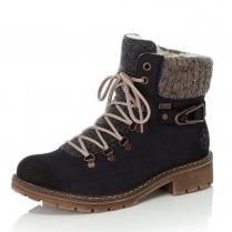 Rieker Ladies Blue Patterned Zip Up Ankle Boots