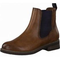 Tamaris Ladies Cognac Brown Slip On Chelsea Boots